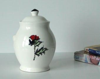 Tachikichi, Ceramic, Red, Rose, Canister, Jar, Storage
