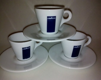 Lavazza_ Porcelain  Espresso Demitasse cups, set of three. Made in Italy, by d'Ancap,  PBSK