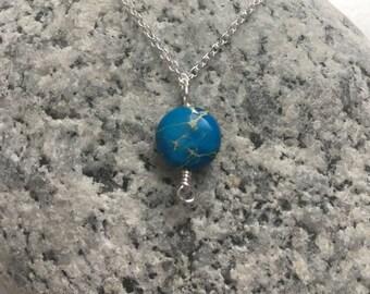 Blue Sea Sediment Jasper - Necklace -  Round Flat 10mm bead