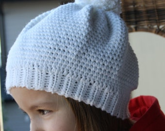 Girls White Hat with Pompom