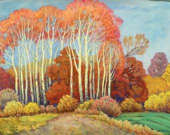 Excellent Vintage 1973 impressionist landscape Ukraine Poltava autumn gouache watercolor ukrainian professional art