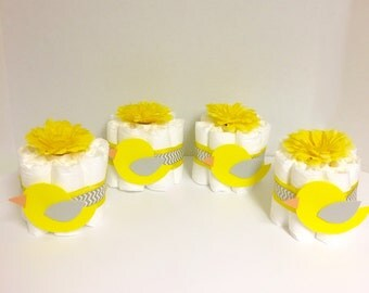 4 Yellow and Gray Bird Mini Diaper Cakes. Spring Baby Shower. Select Colors! Baby Shower Gift. Centerpiece. Decorations. Bird Diaper Cakes