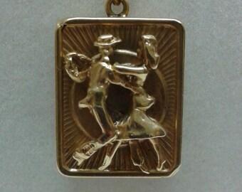 14k Vintage Dancer Charm - wind-up PLAYS MUSIC!