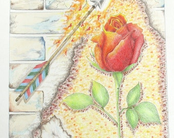Rose wall art, original mixed media drawing