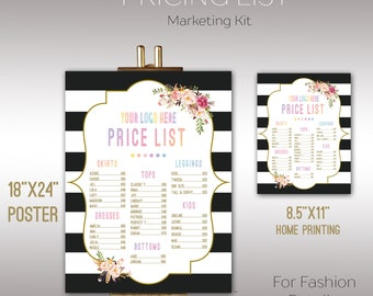 """Boho Price List, Instant Download, 8.5"""" x 11"""", 18"""" x 24"""" , Poster, Digital, Price Chart, Marketing, For Fashion Retailer K15D03"""