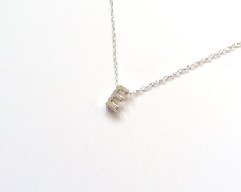 letter e silver initial necklace wife gift personalized necklace tiny initial necklace bridesmaid gift gifts for her letter necklace