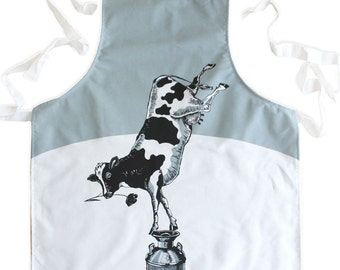 CIRCUS FARM - Buttercup the Balancing Cow - screen printed Apron