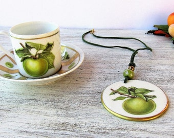 Green apple porcelain hand painted espresso cup and necklace, coffee cup and matching pendant, necklace and combined cup, green apple decor