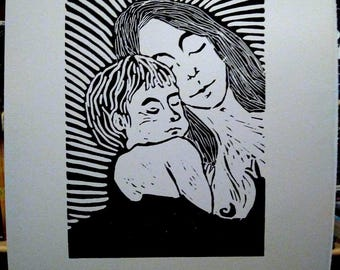 linocut print, the mother and child.