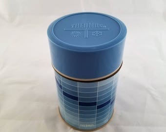 Vintage Thermos brand thermos, ombre blue rectangle print