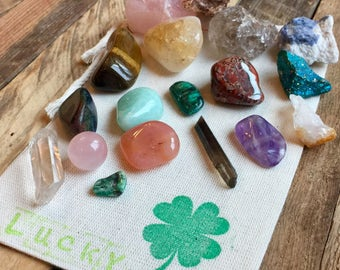 Luck Crystal Bundle, Crystal Set, Lucky Crystals, Unique Gift, Prosperity, Good Fortune, Crystal Collection, Mystical Serenity