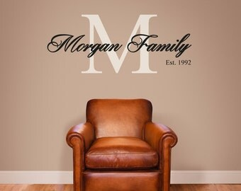 Personalised Family Name Wall Decal/Customised Wall Sticker For Home Decor/Wedding Gift Monogram Inital, Surname, Est Wall Art