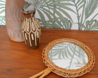 Small vintage mirror manual mirror rattan and bamboo