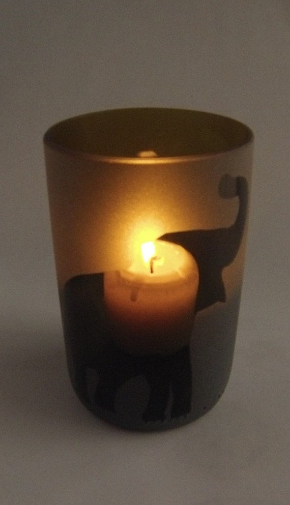 Wine bottle candle holder with 4oz pillar candle choose a for Champagne bottle candle holders