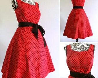 Pin up dress - rockabilly dress polka dots red & black sweetheart neckline- swing dress - sizes XS to 5XL