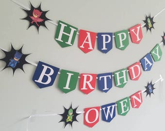 Pj masks happy birthday banner with name.
