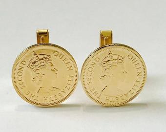 Hong Kong 10 Cents Cufflinks 14 kt Yellow Gold Plated