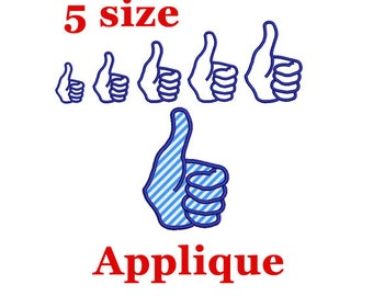 Like Symbol Embroidery Applique design. Thumbs Up Hand Applique. Embroidery Thumbs Up Applique. Like Embroidery. Hand Embroidery design.