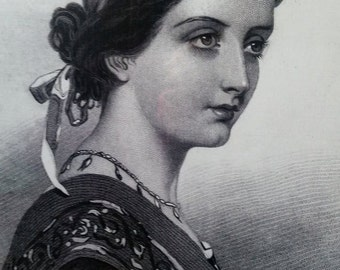 Neoclassical lithograph framed print of Female Portrait