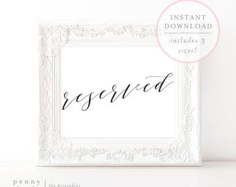 Reserved Sign. Reserved Wedding Sign. Reserved Signage. Reserved Printable. Wedding Reserved Sign. Wedding Signs. Ceremony Sign. (SH)