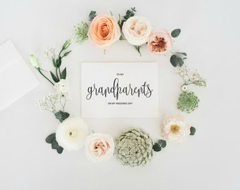 To My Grandparents On My Wedding Day Card, To My Grandmother, To My grandfather, Wedding Card To Grandparents Of The Bride Or Groom Cards