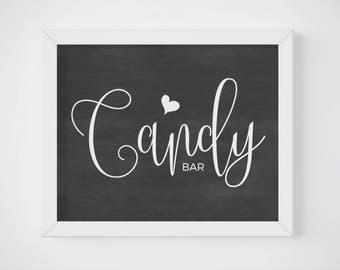Chalkboard Candy Bar Sign, Wedding Candy Bar Sign, Chalkboard Sweets Sign, Chalkboard Candy Bar Decor, DIY wedding template, DIGITAL PDF