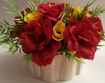 Flower Bowl red roses and yellow tulips