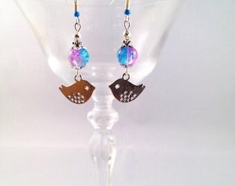 """Silver earrings """"Little bird"""""""