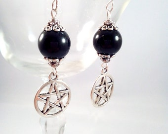 Silver Obsidian Earrings