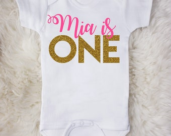 Baby is ONE First Birthday Custom Baby Bodysuit