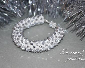 Christmas Bracelet Snowflake Jewelry Bead Bracelet Christmas gift for Women Birthday Gift For Mom Bridal Wedding White crystal bracelet