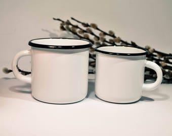 Enamel Mug, 400 ml or 250 ml White Mug, Camping Mug