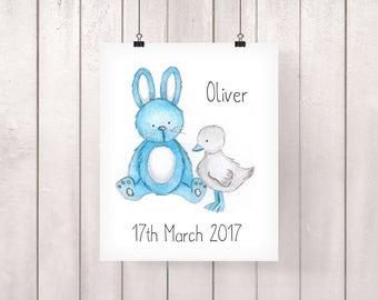 Rabbit Nursery, Rabbit Nursery Print, Bunny Nursery Art, Bunny Nursery Art, Bunny Nursery Decor, Bunny Nursery Print, Blue Rabbit, Blue Duck