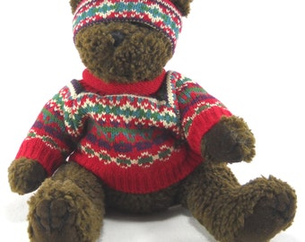 Brown Teddy Bear in Christmas Sweater and Hat