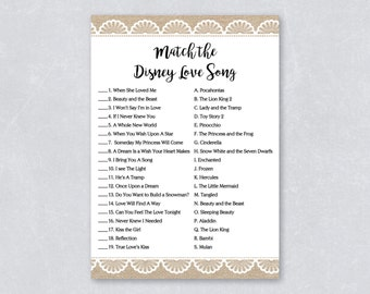Disney love songs match game / Bridal shower games / Rustic burlap and lace / DIY Printable / INSTANT DOWNLOAD
