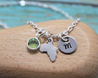 Africa Necklace - Personalized - Small Africa - Africa Gifts - Silver Africa Jewelry