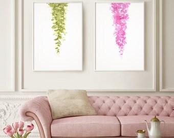 Set of 2, Hanging Plants Print, Herb Print Art, Botanical Print set, Love Decor Green, Desing Art Flower, Hanging Plant, Indoor Print.