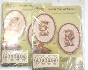 "Vintage needle craft crewel embroidery designs ""hummel"" stitchery sets, various vintage childrens embroidery designs, needle craft designs"