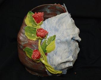 Lacy rose sculptural vase
