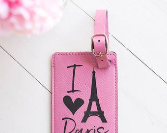 Pink Luggage Tag, I Love Paris, Going to Paris Gift, Bon Voyage, Parisian, France, French Theme, Eiffel Tower, Bag Tag, Leather Luggage LT39