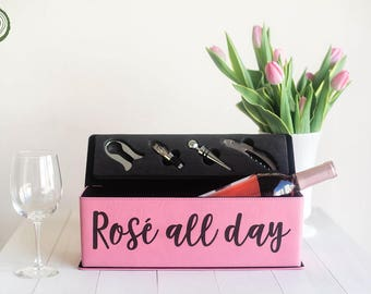 Rosé All Day Wine Box, Engraved Faux Leather Wine Case, Pink Rosé Gift, Rose Wine, Yes Way Rose, Bachelorette Party Gift, Bridal Shower, WB9