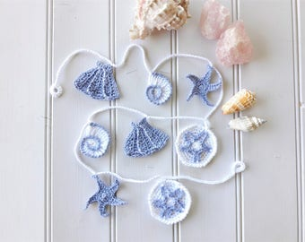 Seashell garland, beach decor, nautical decor, crochet garland, coastal wall art