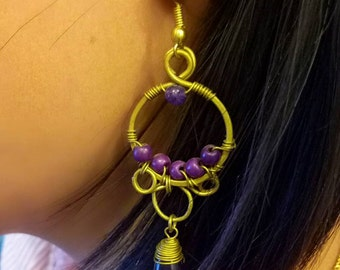wires hoop and round beads earring