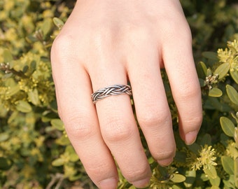 Nautical Braided Ring, Nautical Ring, Sailboat Ring, Braided Rope Ring, Nautical Jewelry, Twisted line Ring, Simple Ring, Gift for her