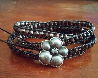 Leather & Bead Wrap Bracelet