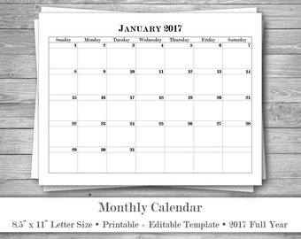 2017 Monthly Calendar • Editable Printable Template • Word