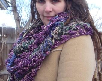 Crochet Cowl Purple Blue Tan Green Statement