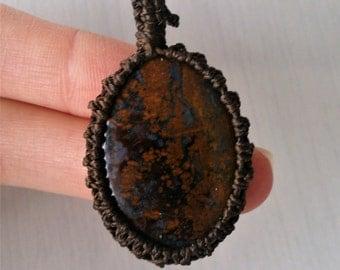 pietersite necklace, yellow pietersite, gemstone necklace, brown gemstone necklace, unisex necklace, gift for her, gift for him,
