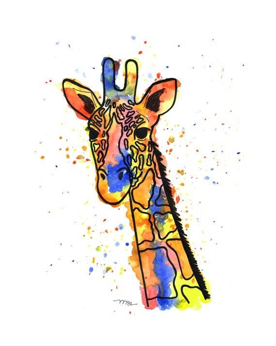 Giraffe Watercolor Print - Giraffe Art - Yellow Blue Orange Giraffe Modern Abstract Print Decor