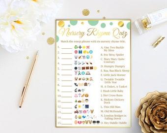 Emoji Nursery Rhyme Quiz ~ Mint and Gold Baby Shower Game ~  Gender Neutral Polka Dot ~ Printable Game MintGld20
